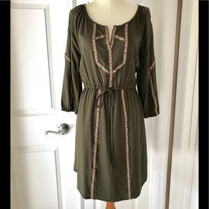 1200842c2ec EDME & ESYLLTE Forest green embroidered trim dress